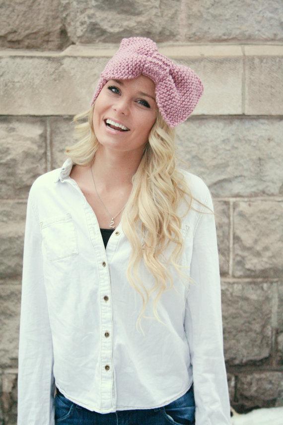 Knit Pattern Headband Oversized Bow Earwarmer Ski By Cablemecozy
