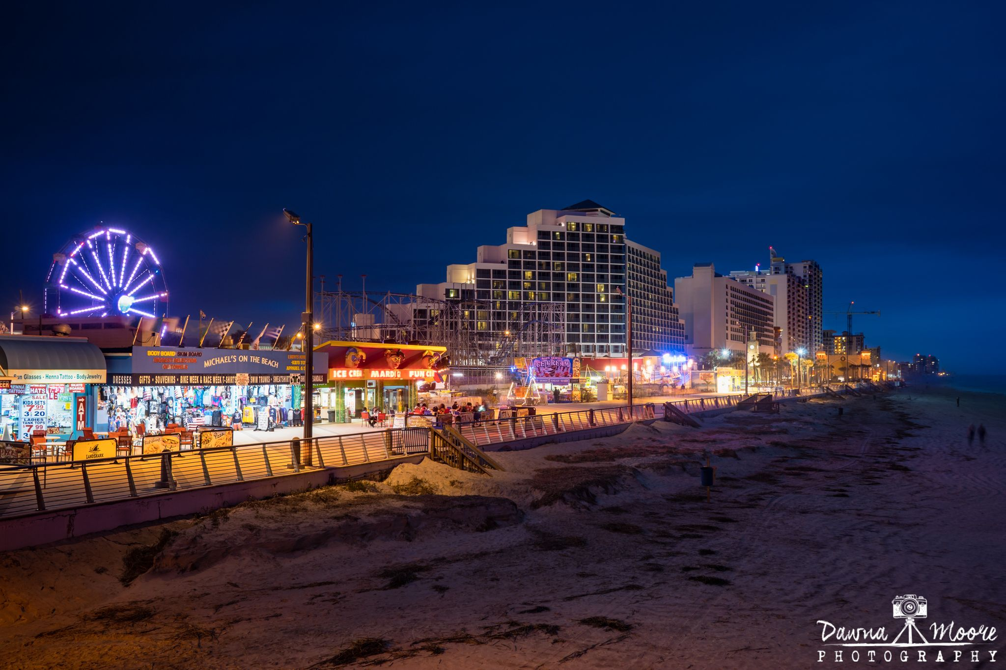 Daytona Beach Boardwalk At Blue Hour Florida New