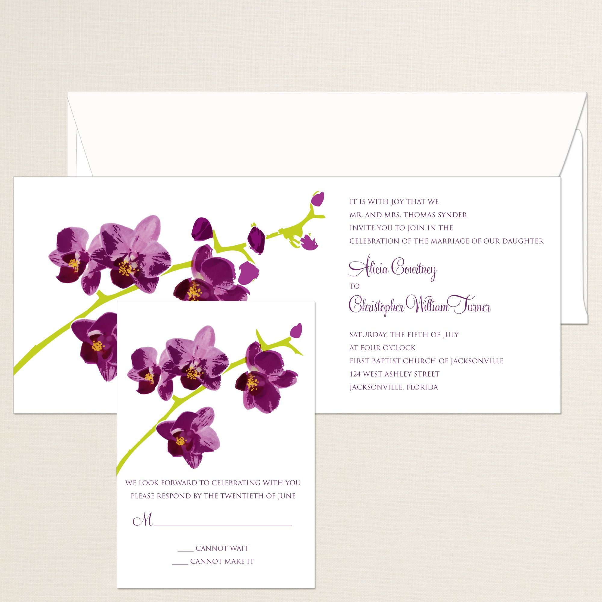 Orchid Beauty Wedding Invitation | #exclusivelyweddings ...