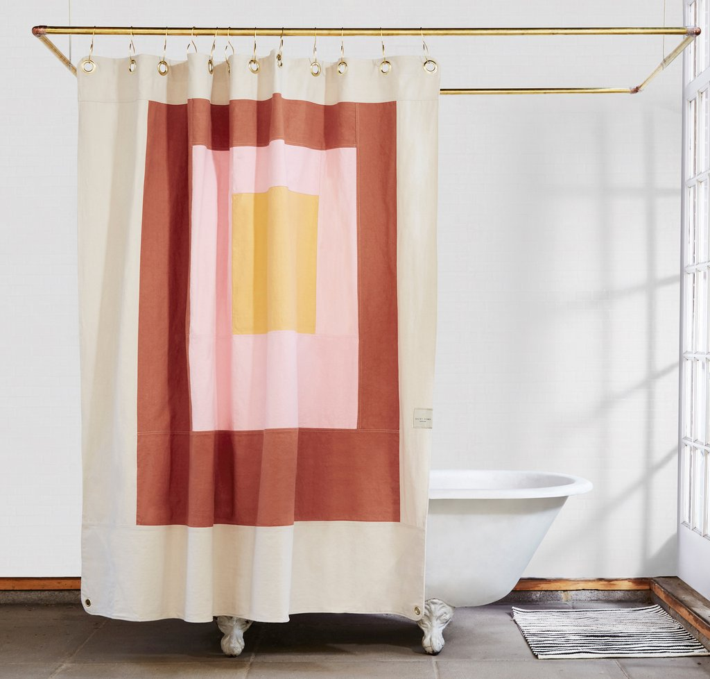 Marfa Clay Quilted Canvas Shower Curtain Budget Bathroom