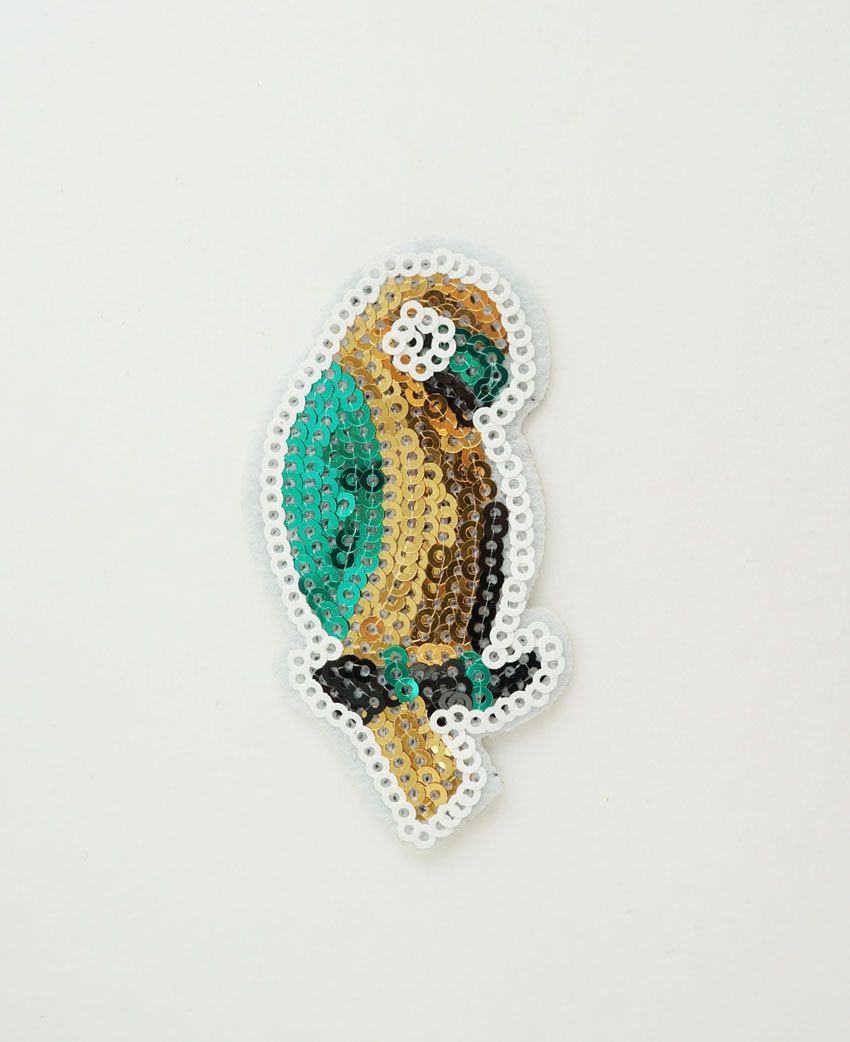 Four Parrot Animal Sequins Patches For Clothing Iron On Embroidered Appliquesh