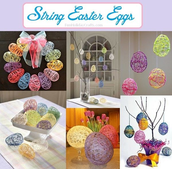 String Easter eggs are pretty easy to make and can be used for all kinds of Easter crafty projects including decor pieces and gifts. Use your finished eggs as decorative pieces around the house or sneak sweet treats into them for adorable little Easter gifts for the kids. Here are a few ideas from friends to get you started...