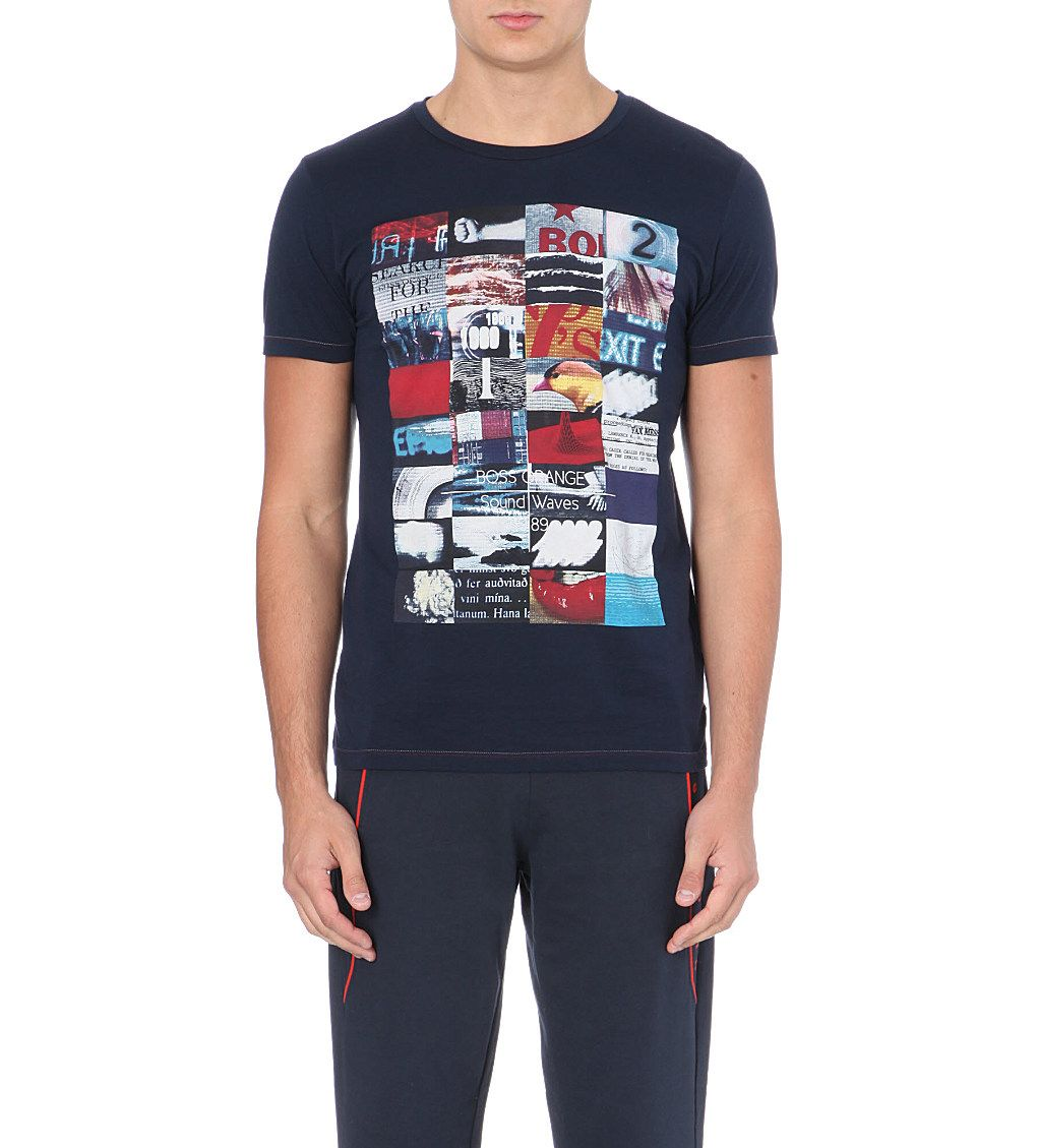 efecc911 HUGO BOSS - Printed cotton t-shirt | Selfridges.com | MENS FASHION ...