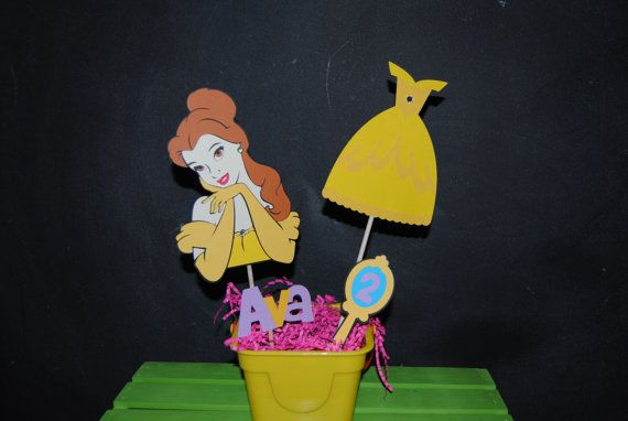Belle Centerpiece WIth Childs Age And by UniquePartyCraft on Etsy, $18.00