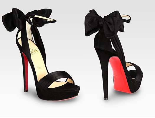 christian louboutin black bow shoes