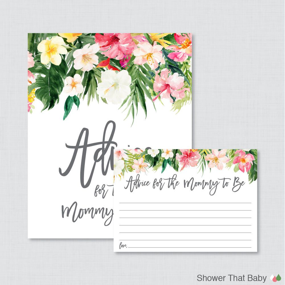 Tropical Advice For Mommy To Be Cards And Sign Printable Hawaiian