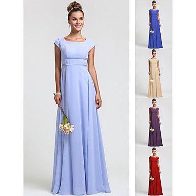 Bridesmaid Dress Floor Length Chiffon Sheath Column Square Dress – USD $ 79.99