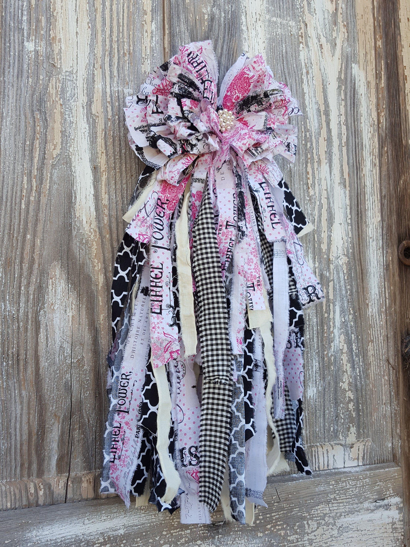 Valentines Rag bow Paris rag bow Wedding bow Pew bow