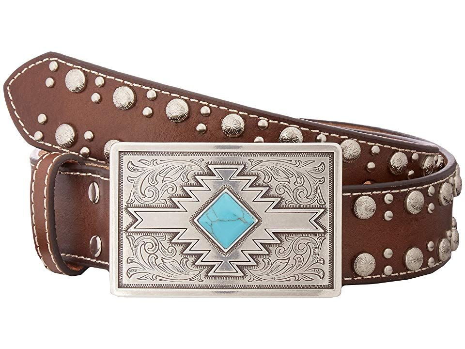 M+F Western Products Boys MF Brown Distressed Belt with Conchos