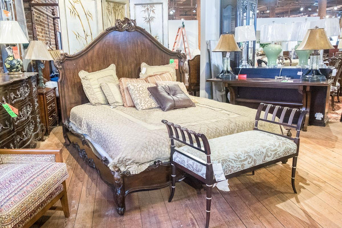 Henredon King Bed + Hickory Chair Upholstery Bench