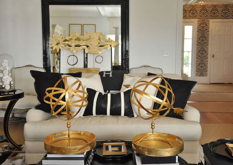 Suzie: Megan Winters   Fantastic Gold Black Living Room With Glossy Black  Floor Mirror, Ivory . Ideas