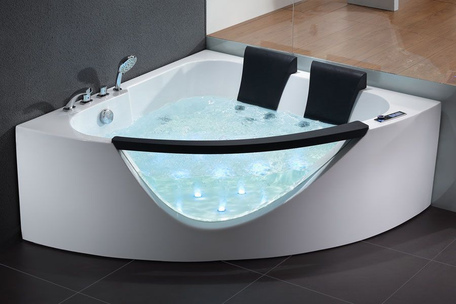 EAGO 5\' Rounded Clear Modern Double Seat Corner Whirlpool Bath Tub ...