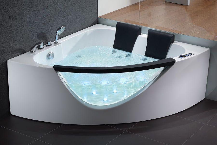 EAGO 5\' Rounded Clear Modern Double Seat Corner Whirlpool Bath Tub ...