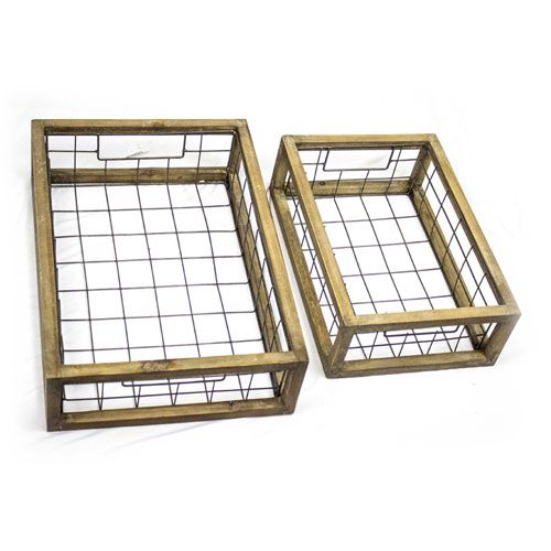 Metal and Wood Trays, Set of Two