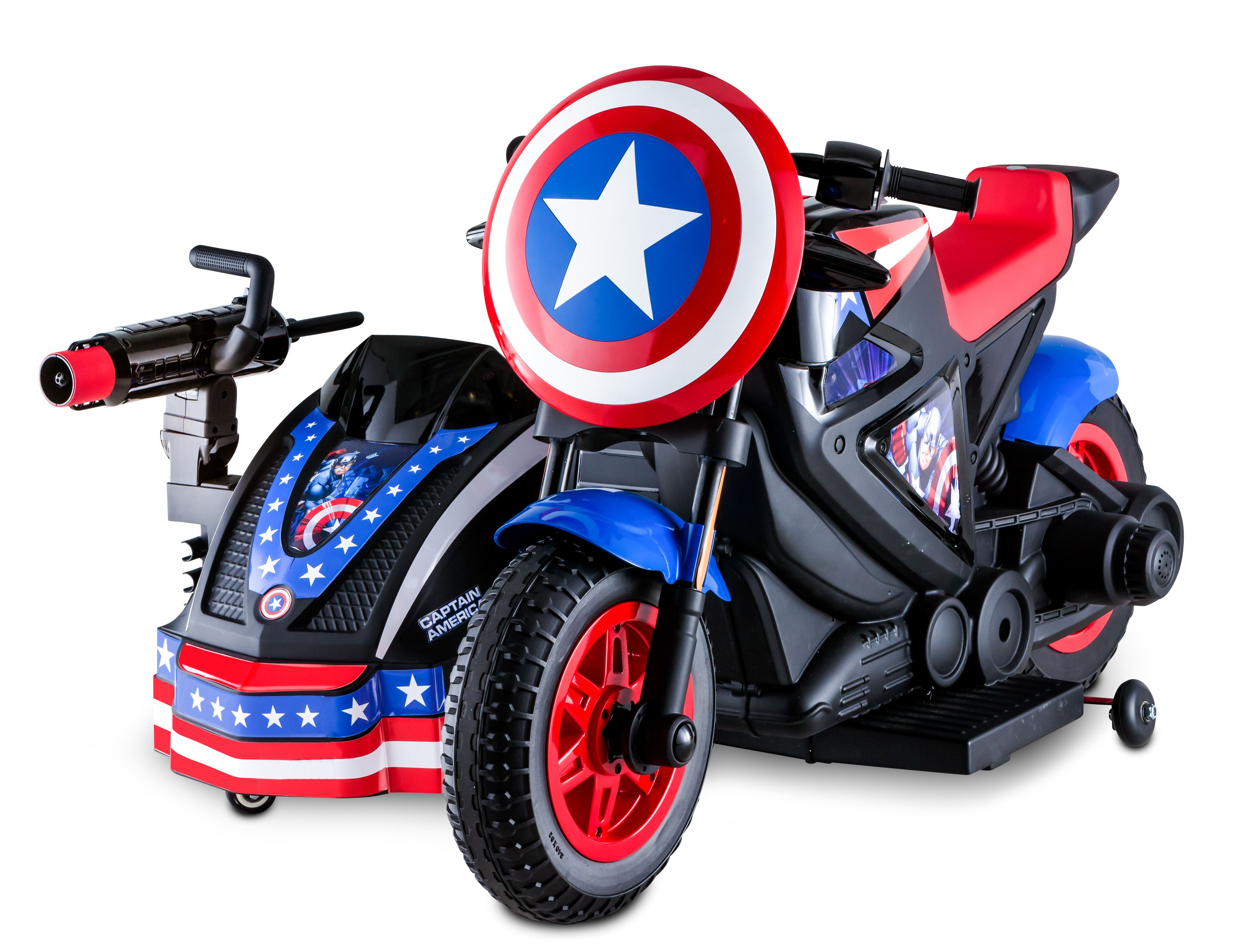 Marvel S Captain America Motorcycle And Sidecar 12 Volt Ride On Toy By Kid Trax Walmart Com In 2020 Captain America Motorcycle Ride On Toys Marvel Captain America