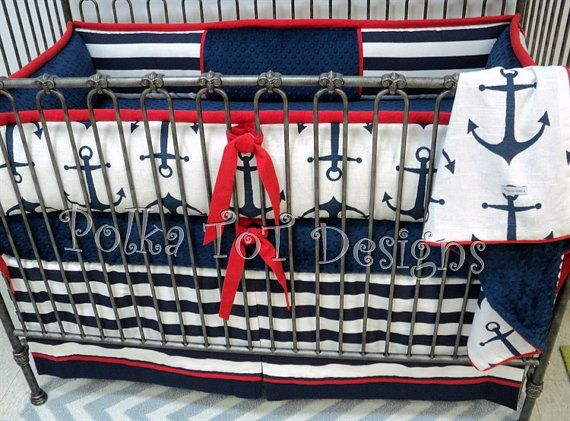 Nautical Red White Blue Anchors Baby Bedding By Polkatotbedding Sets Crib