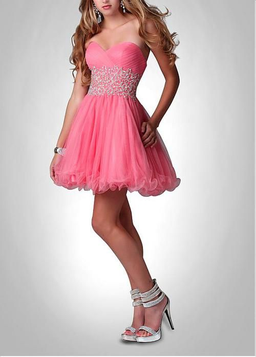 Beaded Decorate Sweetheart Neckline Deopped Waist Catch-Up