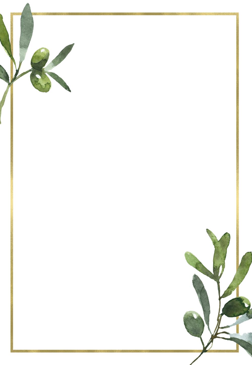Golden Frame Olive Leaves Wedding Invitation Template Free Em 2020 Modelo Convite De Casamento Convite De Casamento Casamento