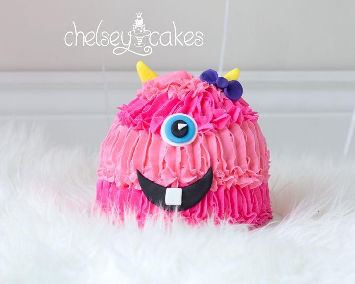 Girly monster smash cake chelseys cakes pinterest