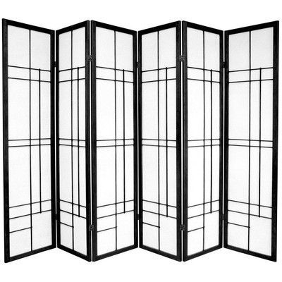 Oriental Furniture Eudes 6 Paned Room Divider Color: Black