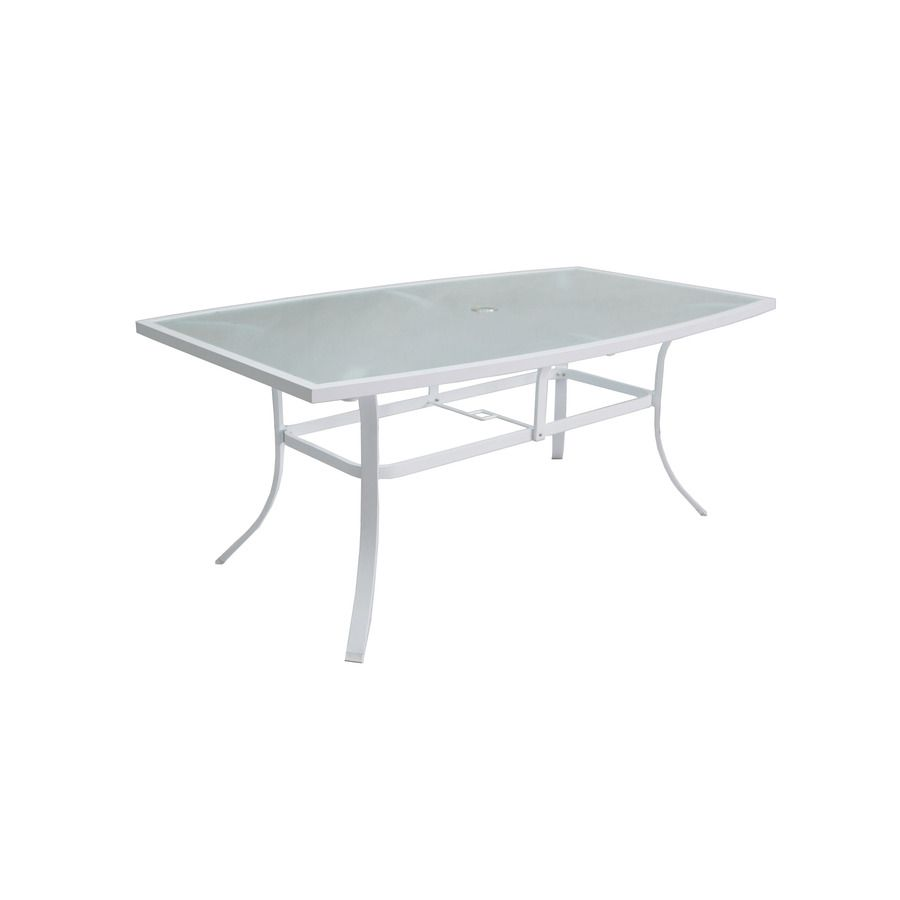 Allen + Roth Ocean Park W X L White Aluminum Patio Dining Table With A  Glass Tabletop