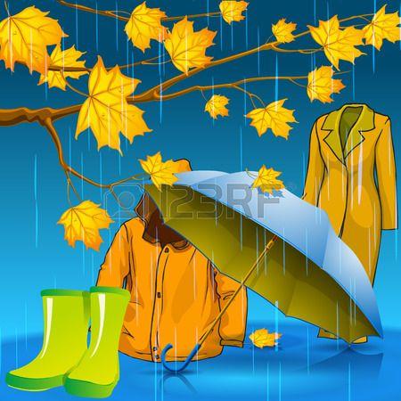 Be stylish this autumn. Autumn jacket. Autumn rubber boots. Autumn umbrella. Autumn leaves with drops of rain.