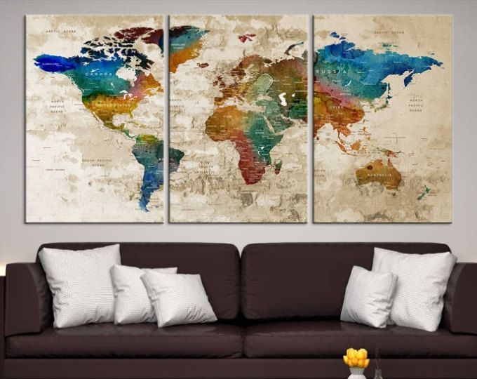 Large wall art world map canvas print custom world map push pin large wall art world map canvas print custom world map push pin wall art gumiabroncs Image collections