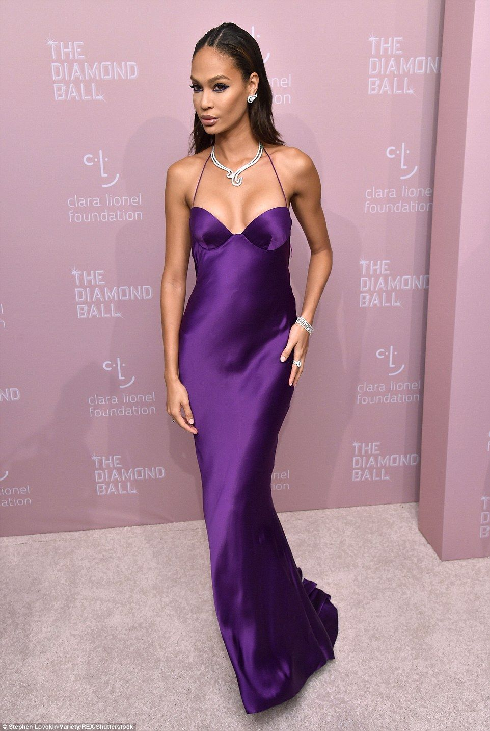 Rihanna is an angelic goddess in white at her annual Diamond Ball   Purple dresses formal, Purple satin dress, Purple gowns