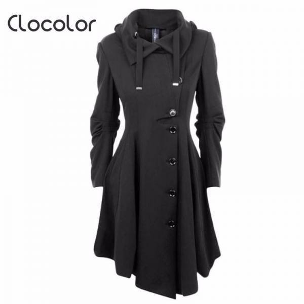 ecd3c6fe22a6 Asymmetric Black Stand Collar Warm Winter Coat in 2019 | Sexy Chic ...