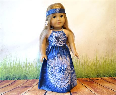 64711cc6825 Cotton hippie royal blue and white tie dye halter maxi dress and beaded  headband. The