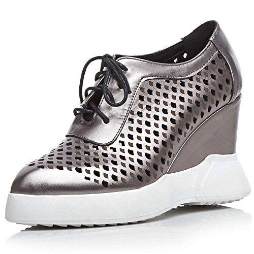 MINIVOG Lug Full Sole Wedge Slope High-Gloss Glazed Leather Womens Shoes