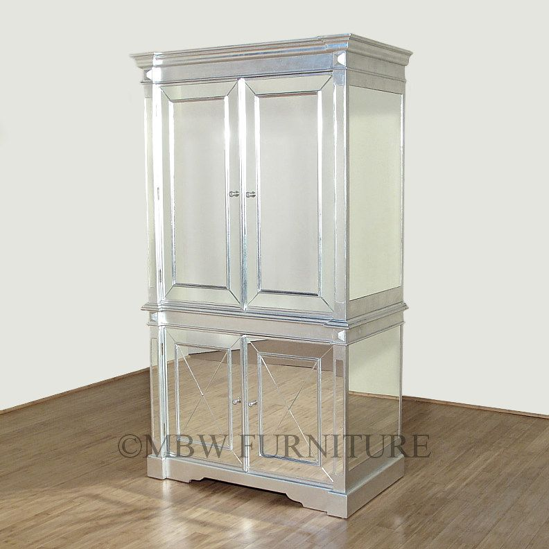 Best Silver Art Deco Mirrored Armoire Wardrobe For The Home 640 x 480