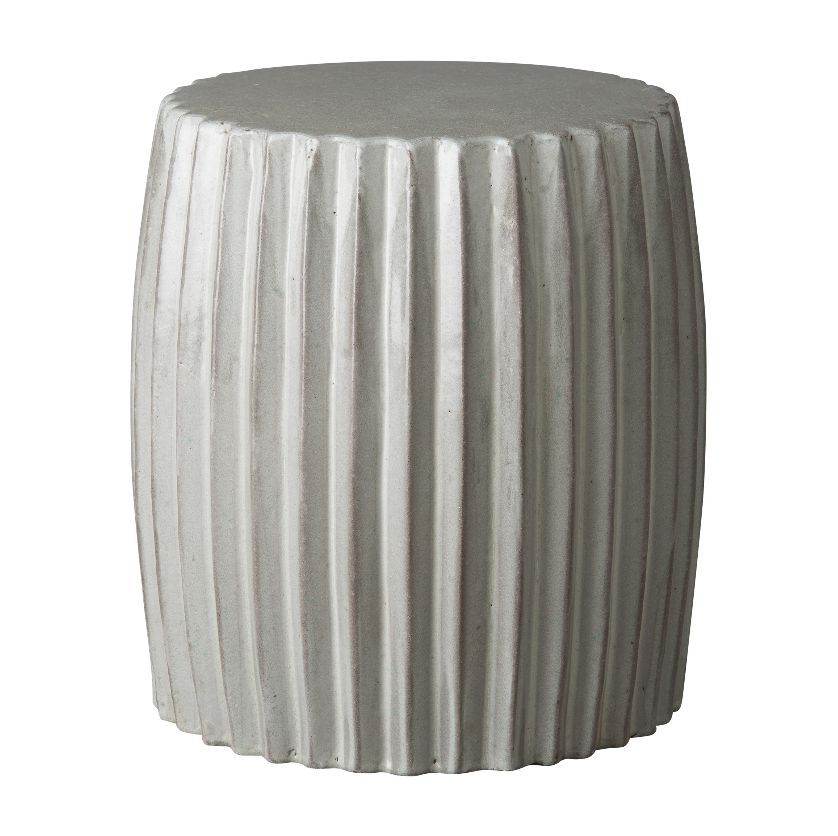 Ceramic Pleated Garden Stool Available In Grey, Blue Or Metallic Glazes  Each Glazes Varies