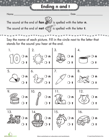 Ending Letter Sounds N and T Worksheets, Early literacy