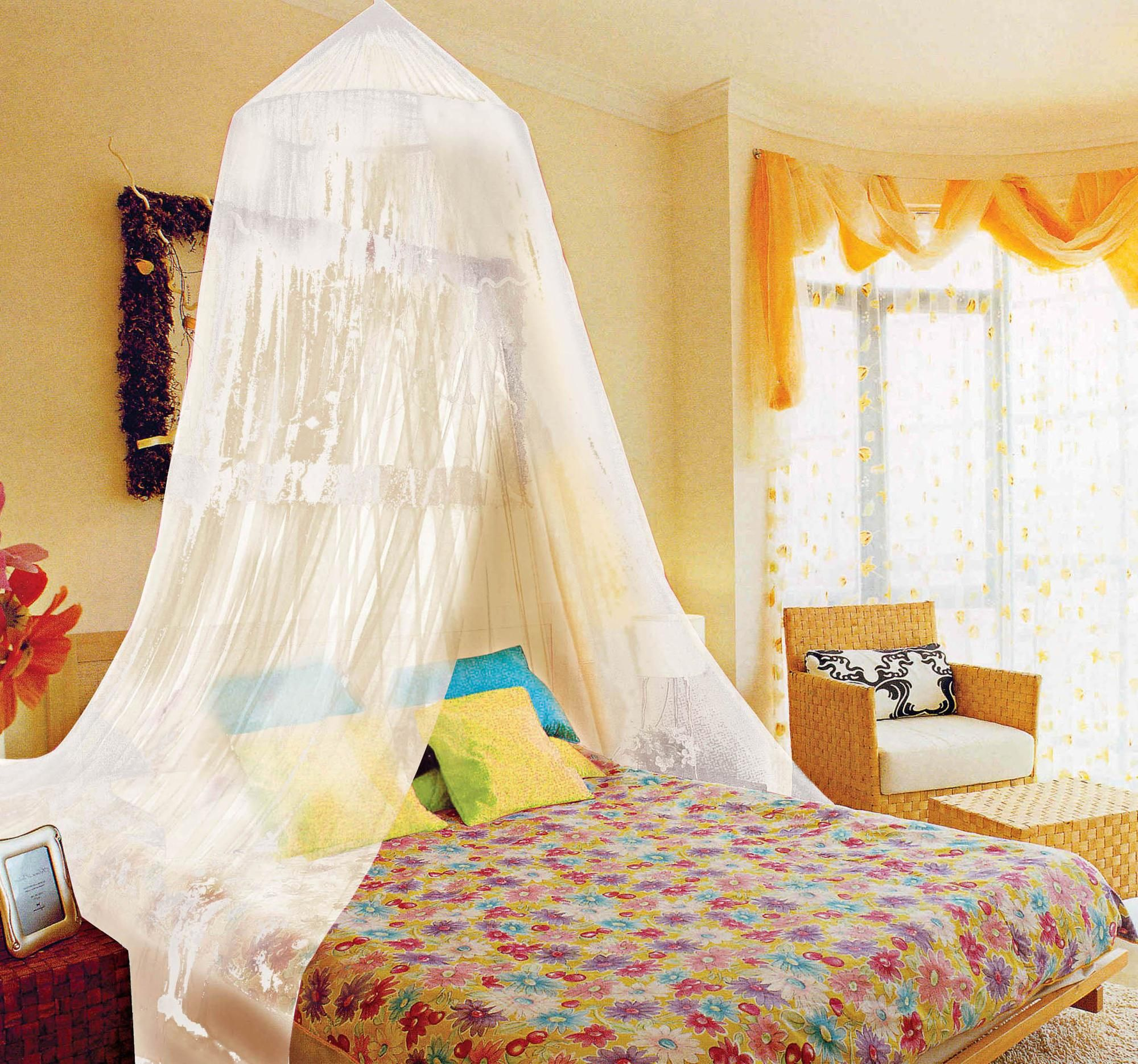 funny canopy bed decor for girls with yellow wall paint color and lovely purple curtains canopy and colorful flowers motif bed also yellow arm chairs near