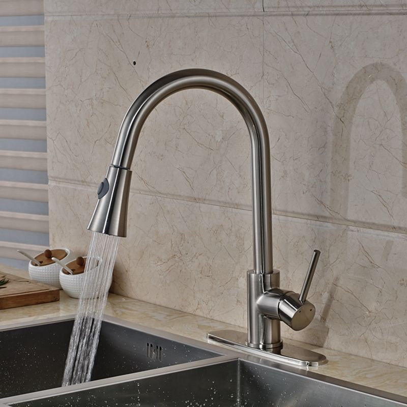 Modern Nickel Brushed Pull Out Kitchen Faucet Swivel Spout Dual Glamorous Brushed Nickel Kitchen Faucet Review