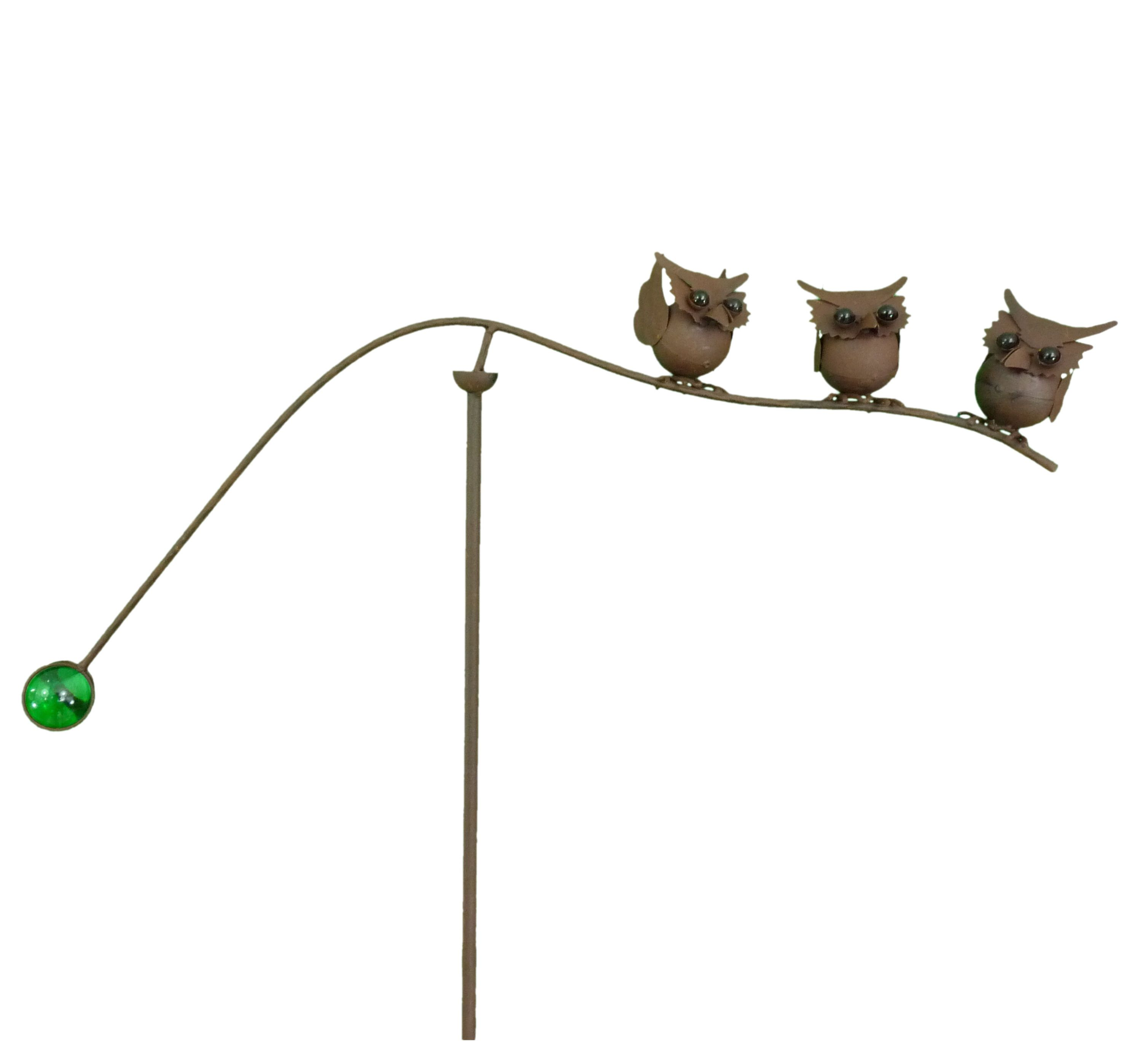Spinning Balancing Trio Of Owls Metal Garden Wind Spinner Ornament Animal