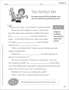 The Perfect Pet Quick Cloze Passage Grades 4 6 With Images