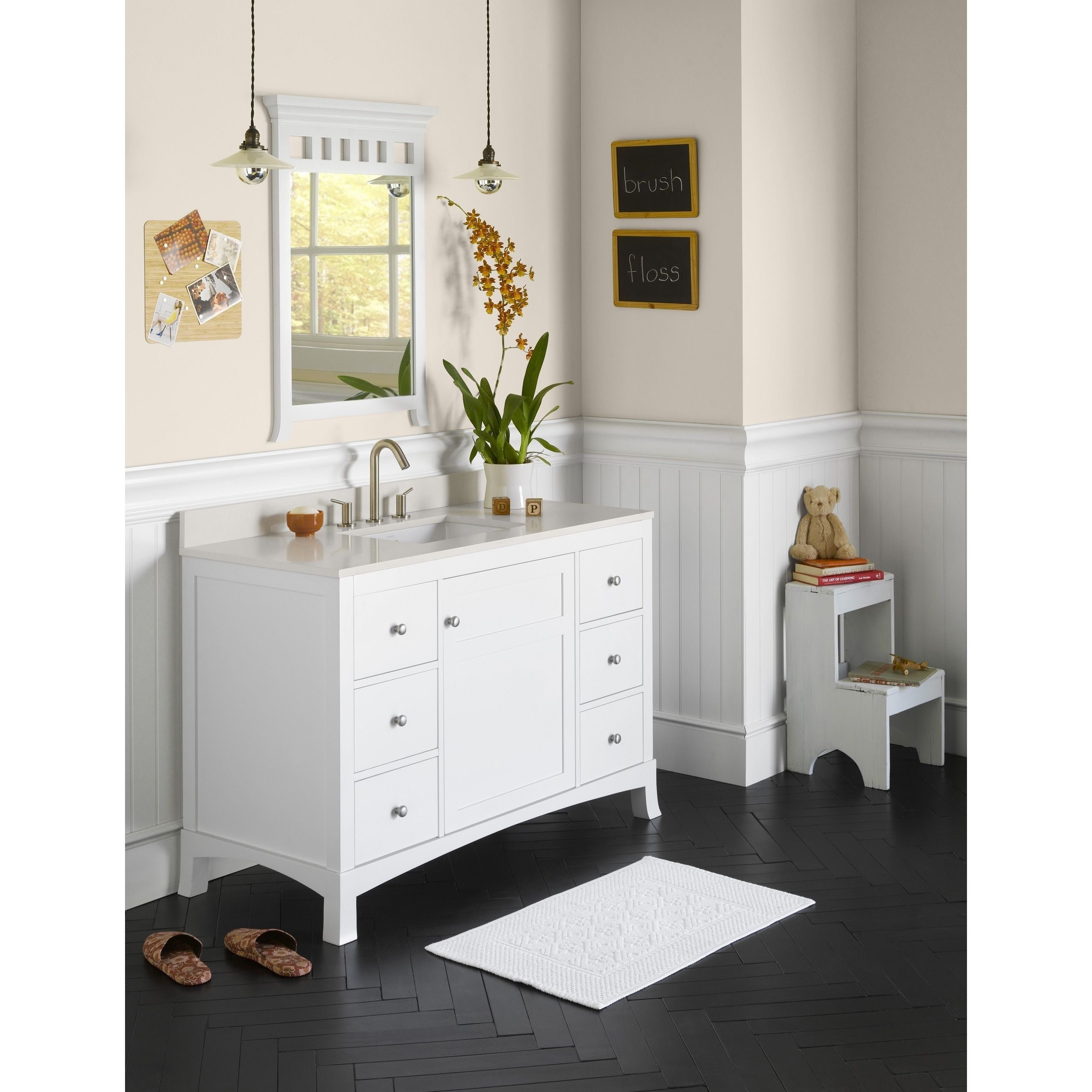 48 inch white bathroom vanity. Ronbow Hampton 48-inch Bathroom Vanity Set In White With Mirror, Quartz Countertop Ceramic 48 Inch