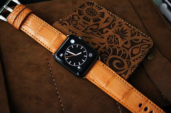 CRAZY SALE Orange Genuine Exotic Leather Strap by Pionier1956