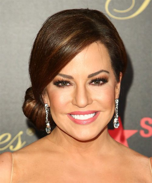 Wedding Hairstyle For Square Face: Robin Meade Long Straight Formal Updo Hairstyle