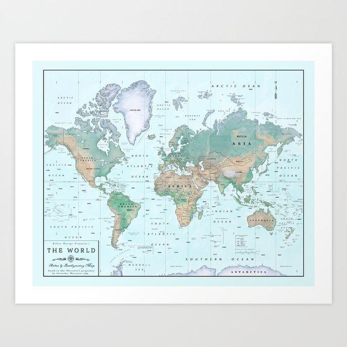the world atlas shaded relief map art print by kokuadesigncompany society6