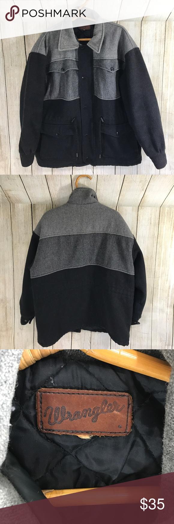 "Wrangler zip up button down coat Two tones Grey & black button down zip up coat. Lots of pockets ! Wrangler size L 29"" long Wrangler Jackets & Coats"
