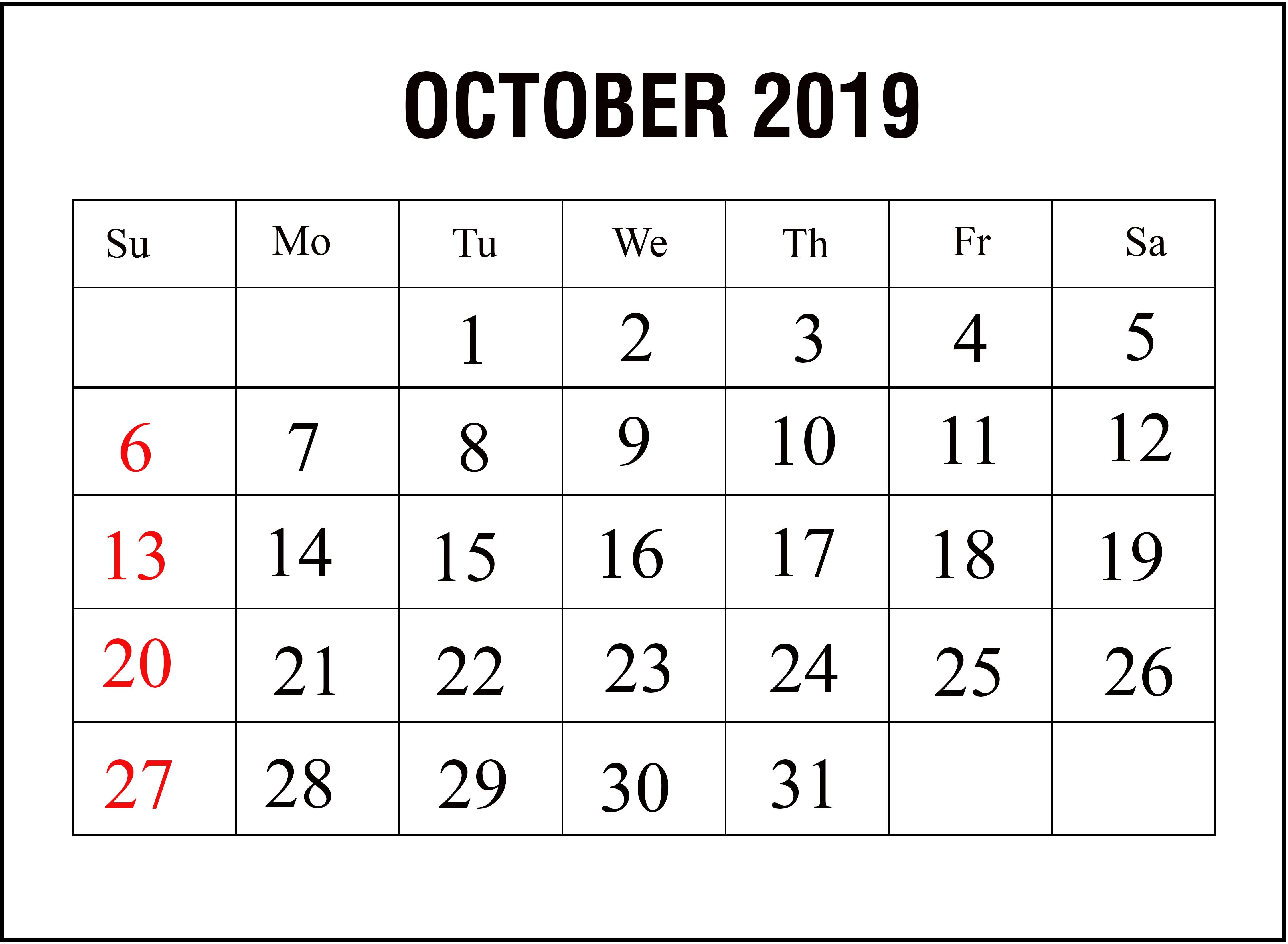 Blank Calendar October 2019 Printable A4 Page November November2019 November2019calendar Calendar Template Calendar Printables Printable Calendar Template