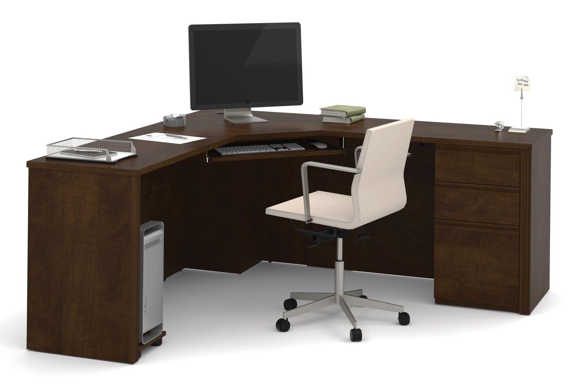 Bormann Corner Desk With Pedestal Modern Corner Desk Corner