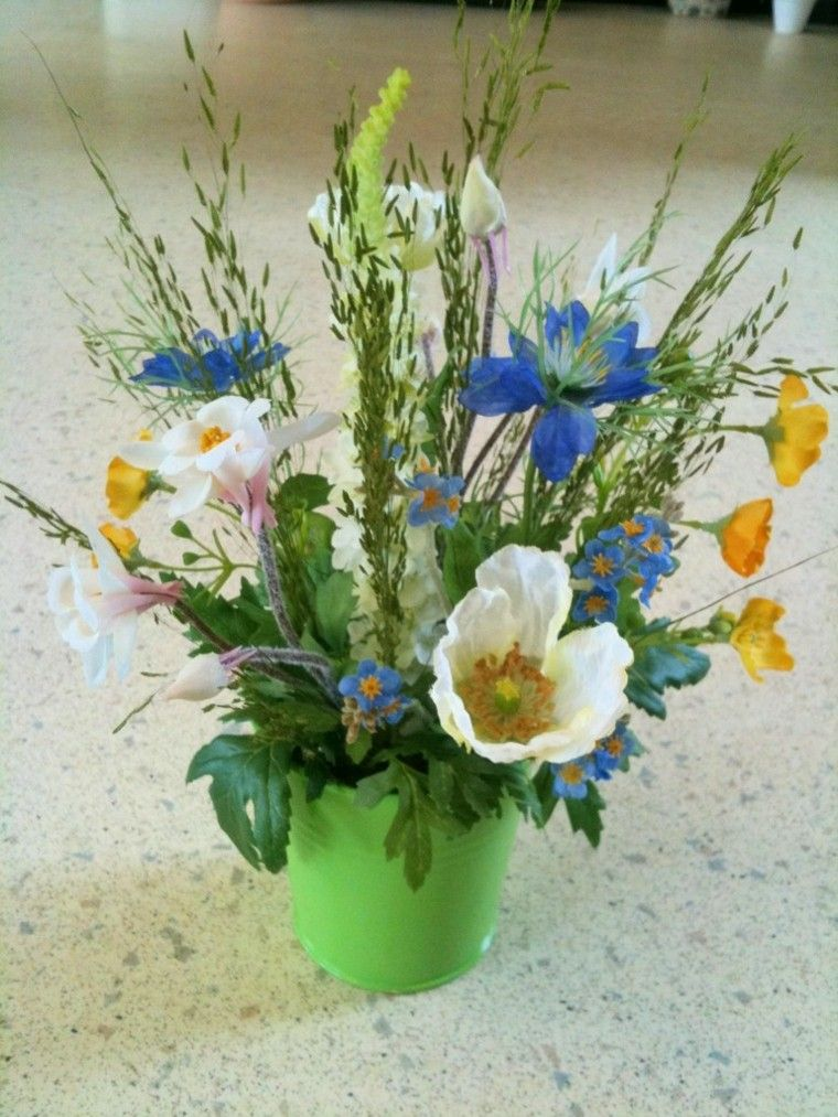 ramos de flores jarron verde flores silvestres ideas | Decoración ...