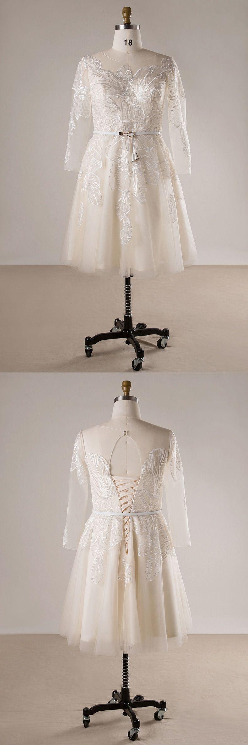Plus Size Unique Lace Champagne  Sleeve Short Bridal Wedding