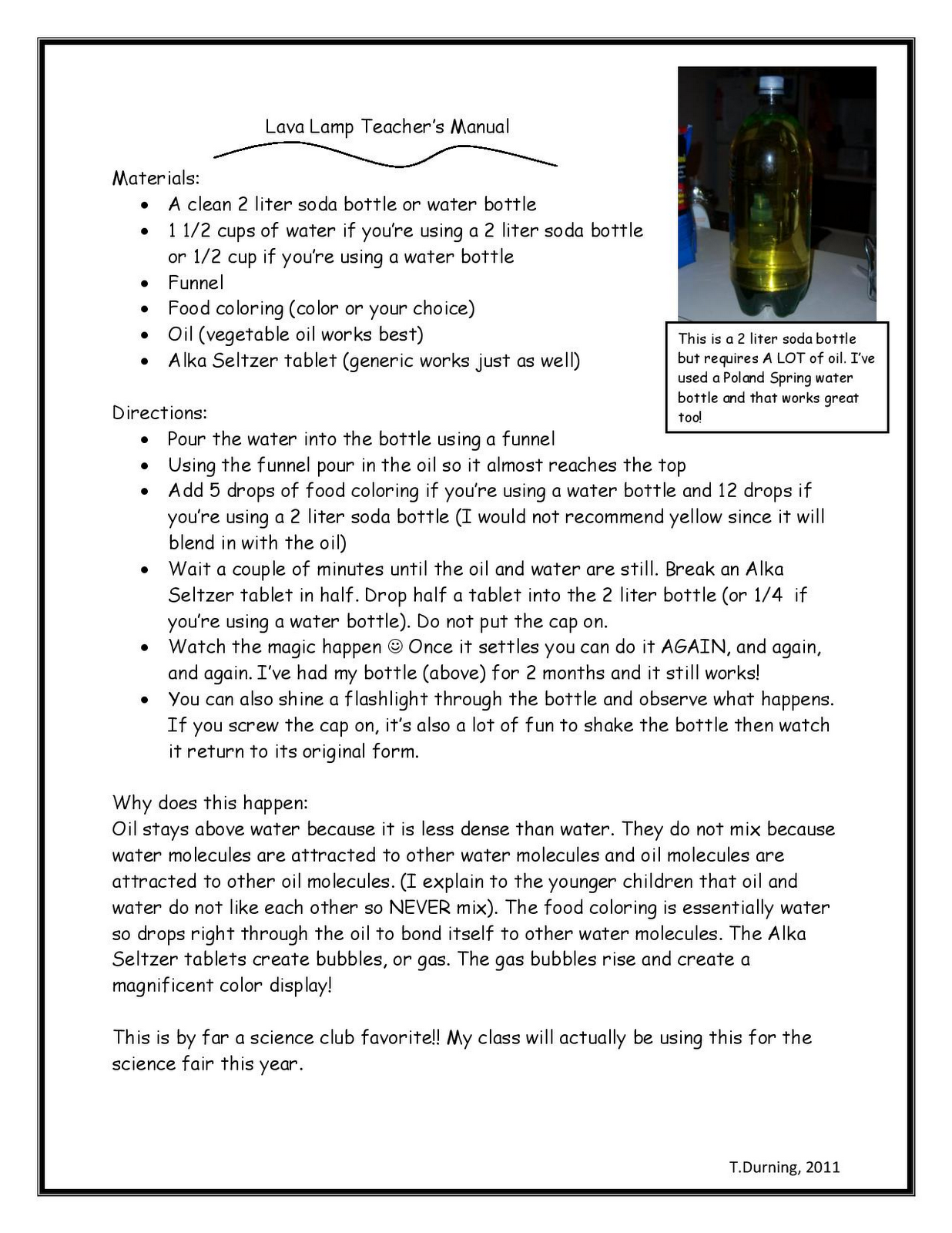 3 6 Free Resources Lava Lamp Science Experiment