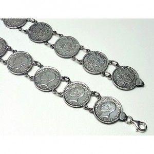 Pulsera de plata de primera ley lisa con monedas