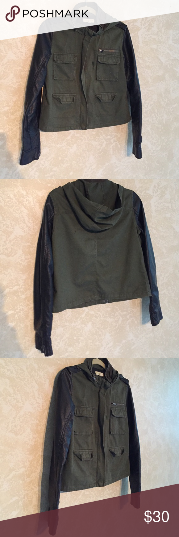 Urban outfitters military jacket Olive green jacket with faux leather sleeves. The hood can be out or tucked in Urban Outfitters Jackets & Coats Utility Jackets